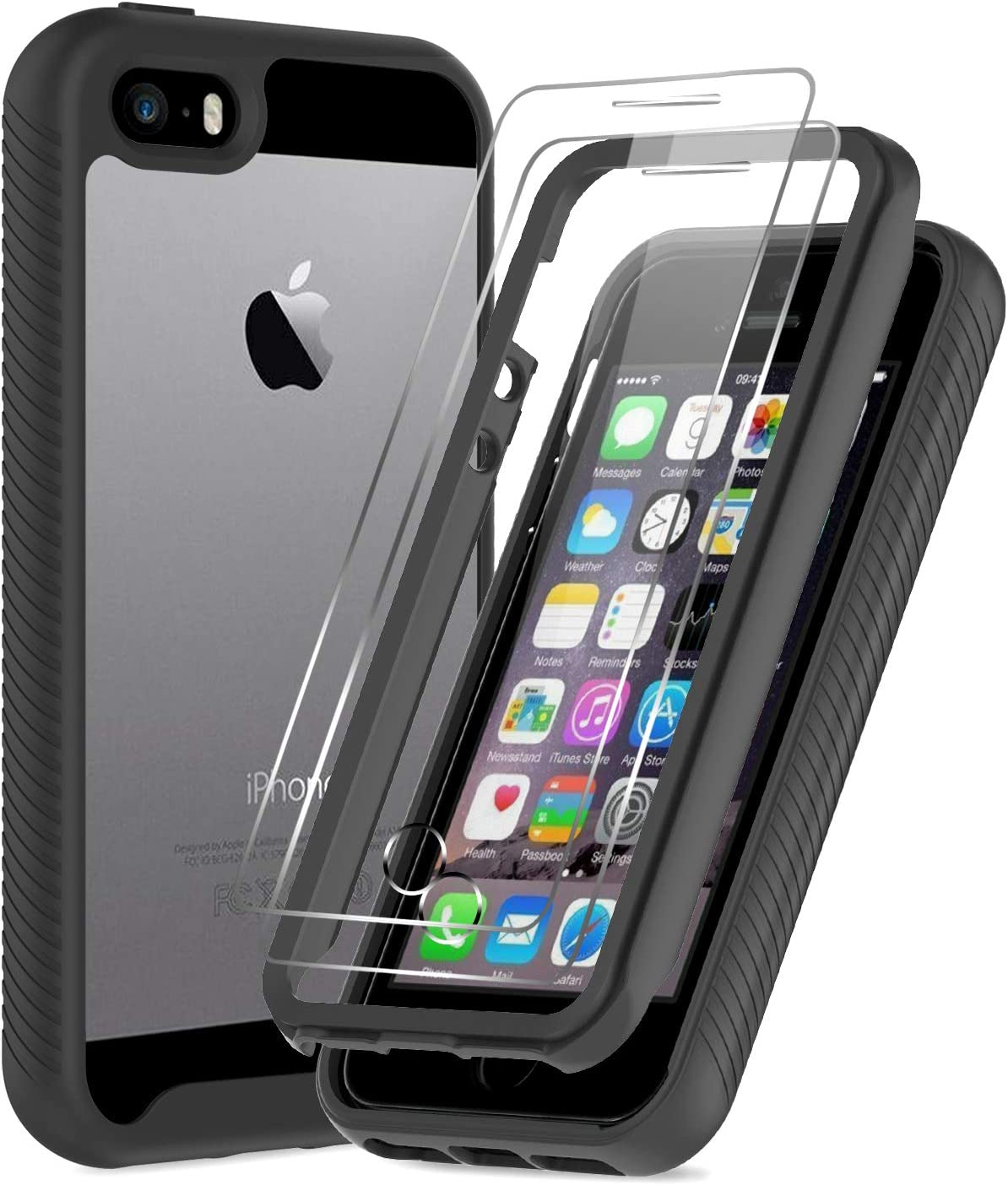 LeYi iPhone SE Case (2016), iPhone 5 Case, iPhone 5s Case with 2 Tempered Glass Screen Protector, Full-Body Shockproof Rugged Hybrid Bumper Clear Protective Phone Cover Cases for iPhone 5s/5, Black