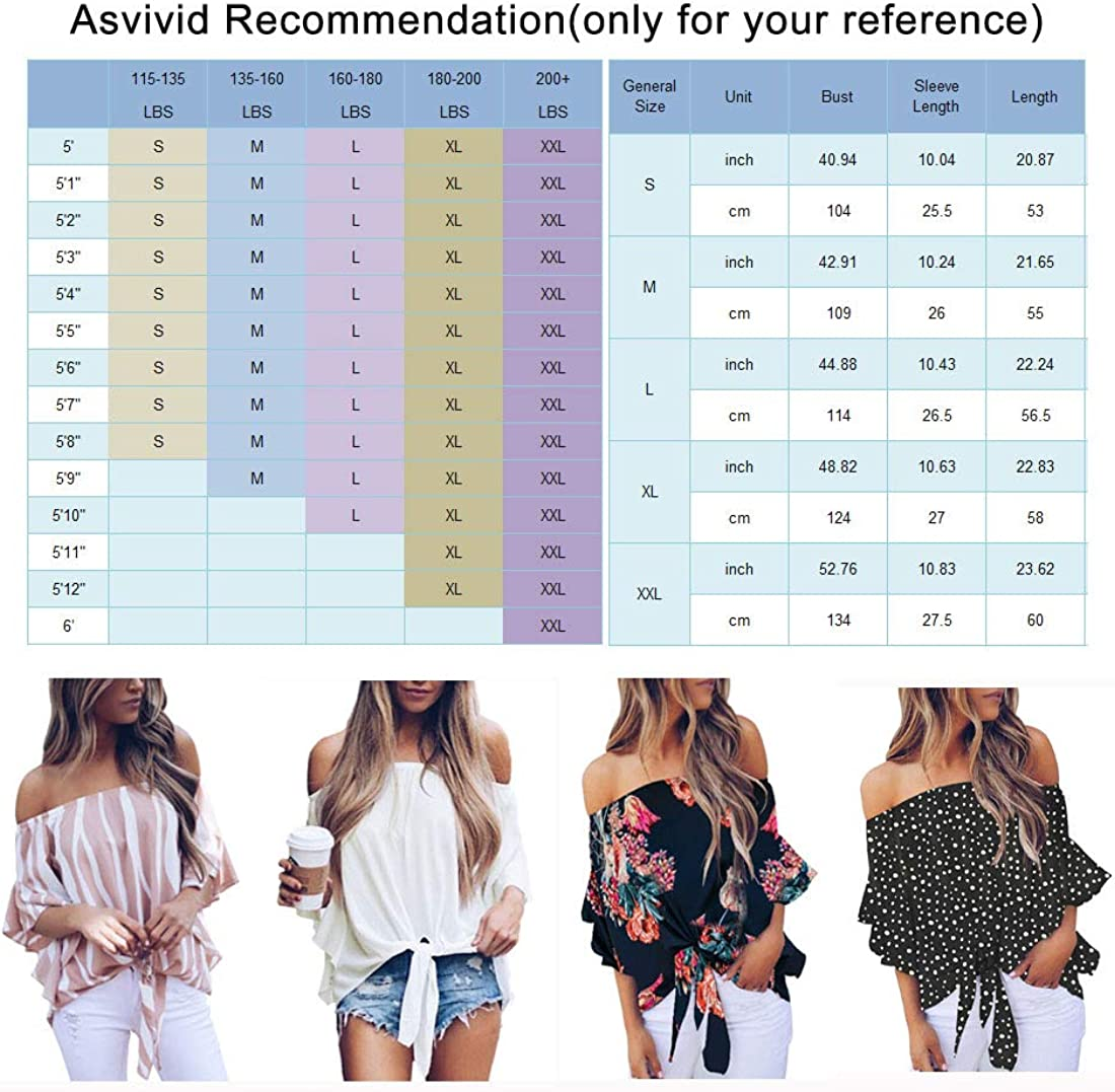 Asvivid Womens Summer Floral Pinted Off The Shoulder Tops 3 4 Flare Sleeve Tie Knot T-Shirt Blouses