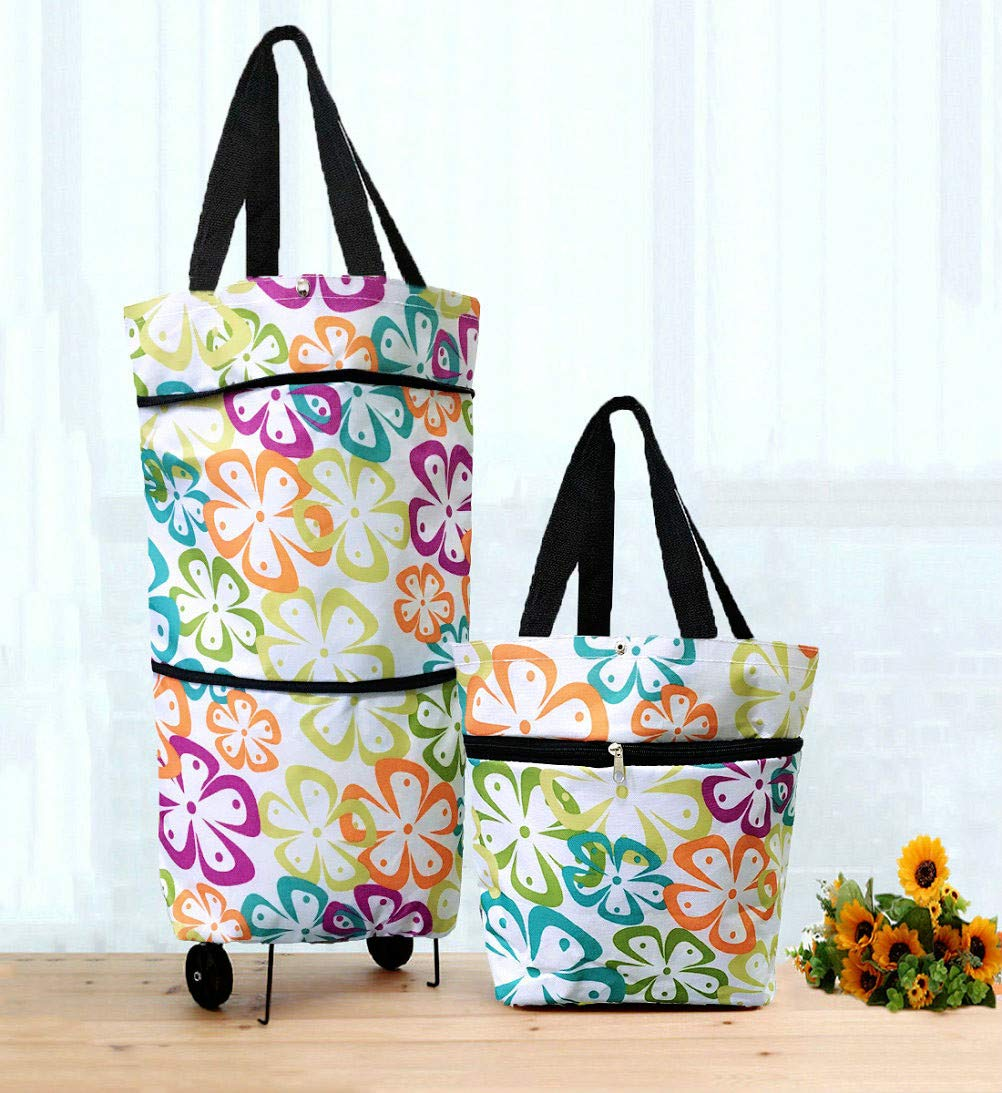 Cocobuy Collapsible Trolley Bags Folding Shopping Bag with Wheels Foldable Shopping Cart Reusable Shopping Bags Grocery Bags Shopping Trolley Bag on Wheels