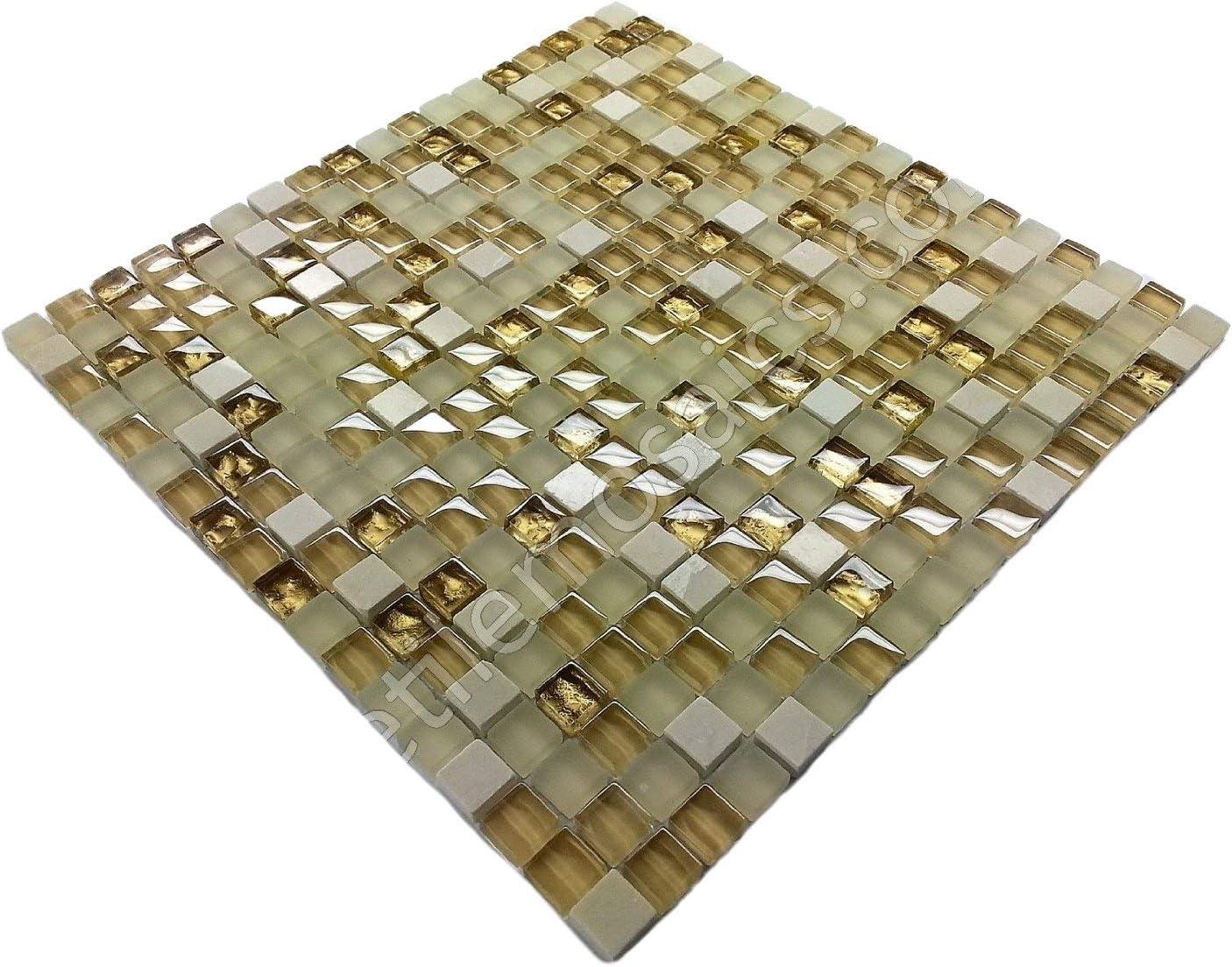 - Vogue Premium Quality Botticino Marble Gold Glass Mixed Square