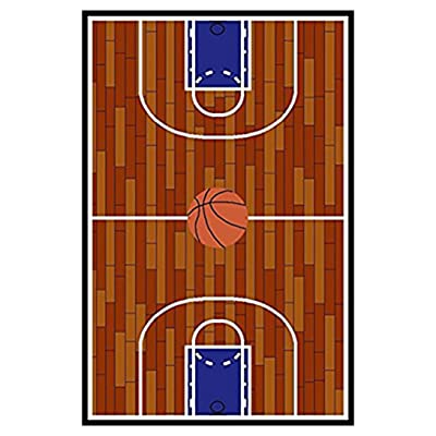 Furnish my Place 690 Rust Basketball Ground Kids Area Rug, 4'5 X 6'9: Home & Kitchen