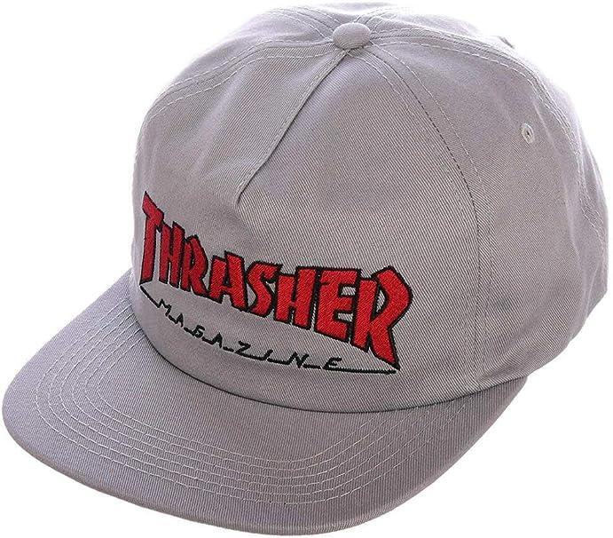 THRASHER - Gorro de Punto (Cierre a presión), Color Gris y Rojo ...