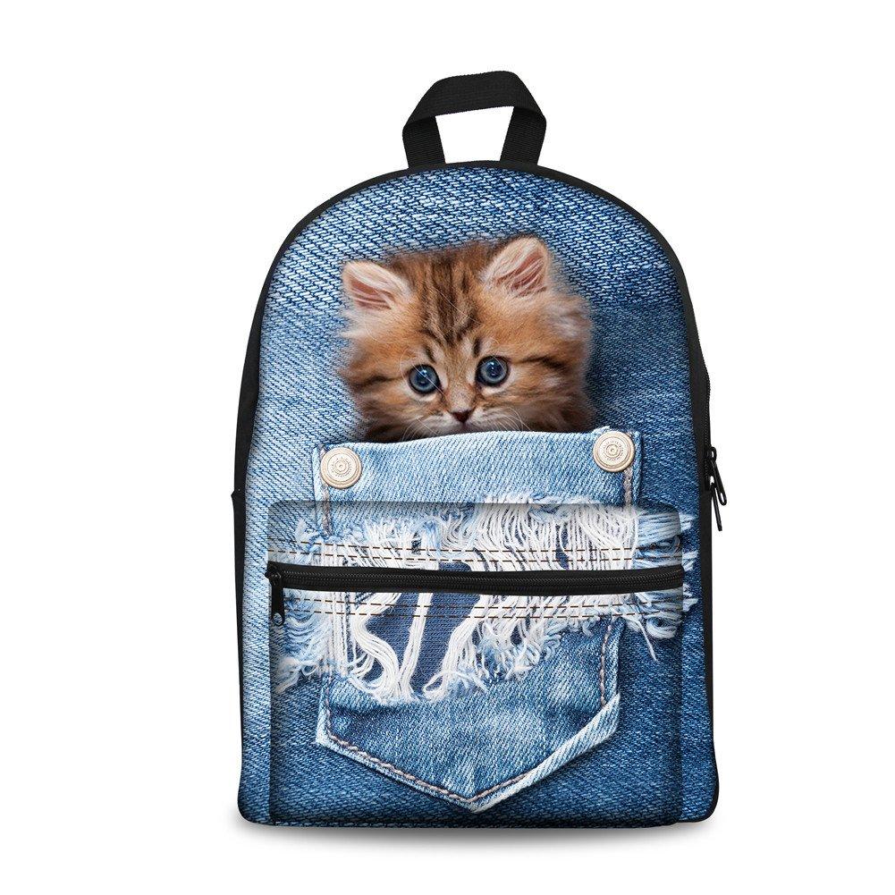 Denim animak8 coloranimal 3PCS Set of Canvas Jansport Backpack+Insulated Lunch Box+Pencil Case