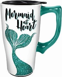 Spoontiques Mermaid at Heart Ceramic Travel Mug, 18 ounces, White