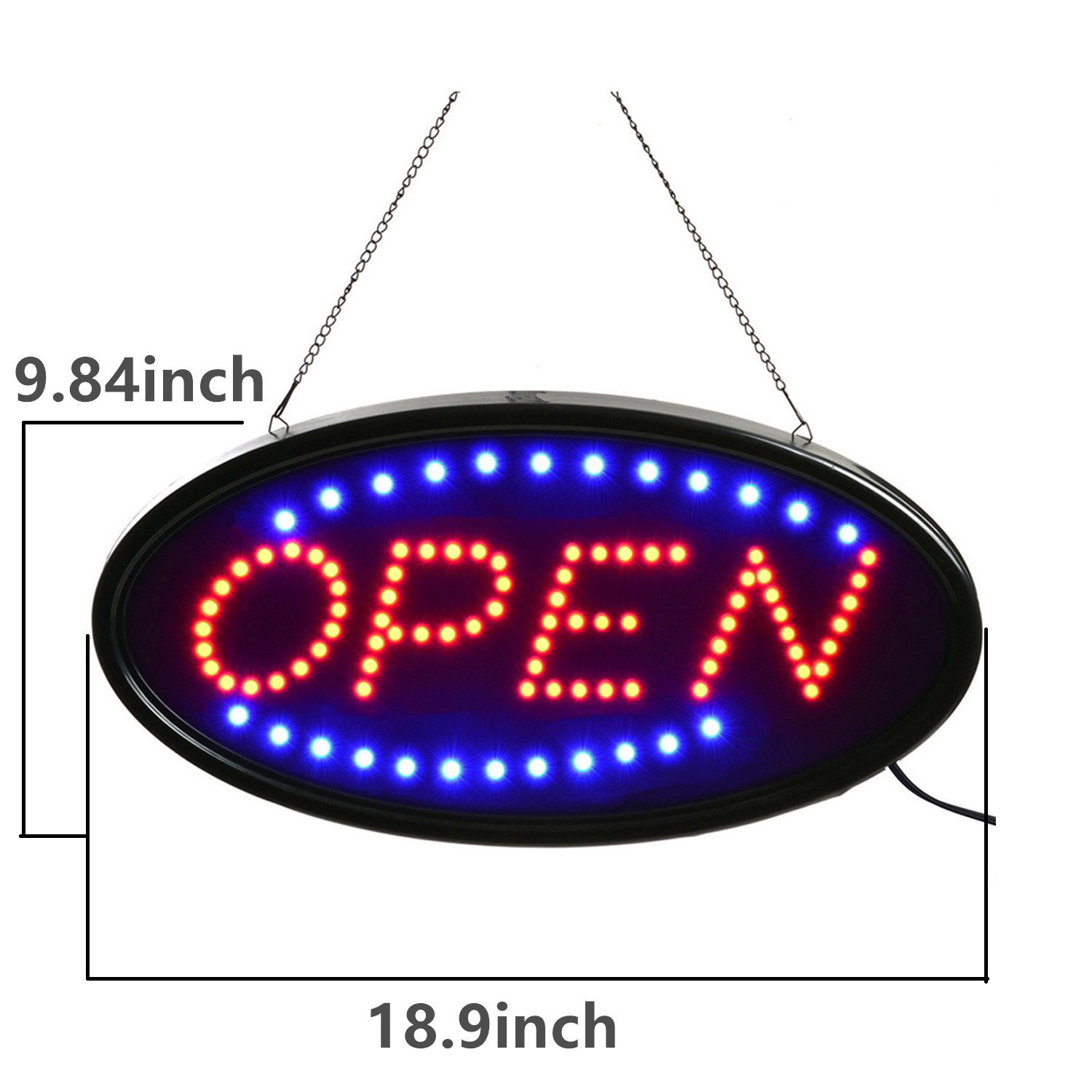 Open LED Sign,LED business open sign advertisement board Electric Display Sign,Light Up Sign 18.9''x9.84'' Flashing & Steady light, for business, walls, window, shop, bar, hotel (Blue+Red) by Datedirect (Image #5)