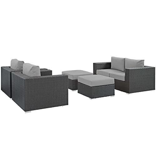 Modway EEI-1879-CHC-GRY-SET Sojourn Wicker Rattan Outdoor Patio Sunbrella Sectional Set, Seating for Four with Two Ottomans, Canvas Gray
