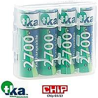 tka Köbele Akkutechnik Akku AA: 4er-Set NiMH-Akkus Typ AA/Mignon, 2.700 mAh, mit Aufbewahrungs-Box (Wiederaufladbare Batterien)