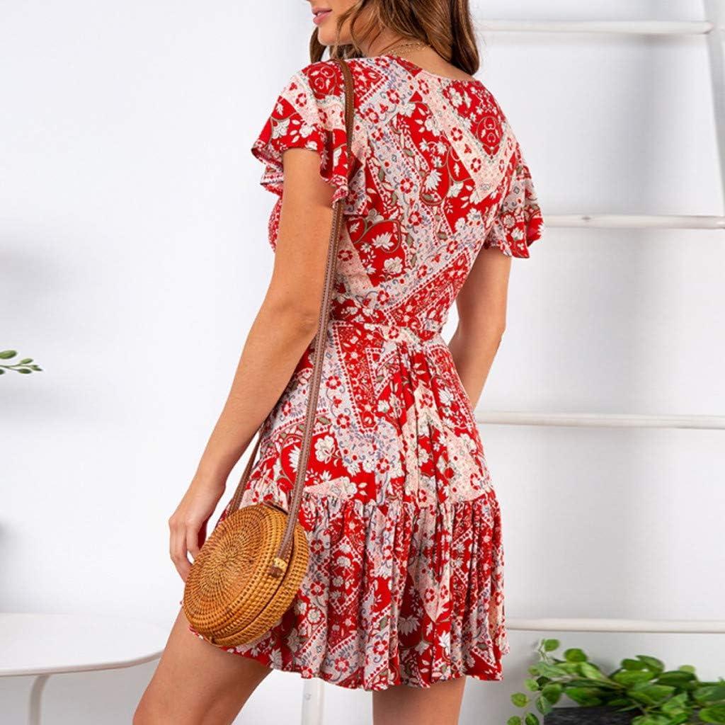 Steagoner Women Mini Floral Print Swing Dress Long Sleeve V-Neck Knee-Length Boho A line Beach Dresses with Belt