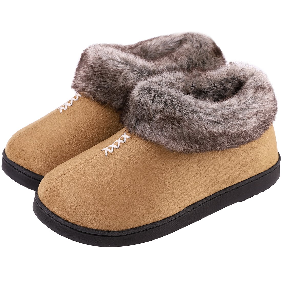 Women's Cozy Memory Foam Slippers Fluffy Micro Suede Faux Fur Fleece Lined House Shoes with Non Skid Indoor Outdoor Sole (Medium / 8 B(M) US, Camel)