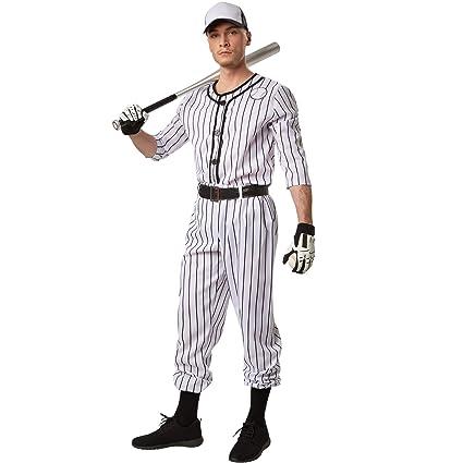 dressforfun Disfraz para hombre Béisbol | Parte superior de manga larga a rayas | Pantalones largos a rayas | Incl. cinturón y un par de calcetines (S ...