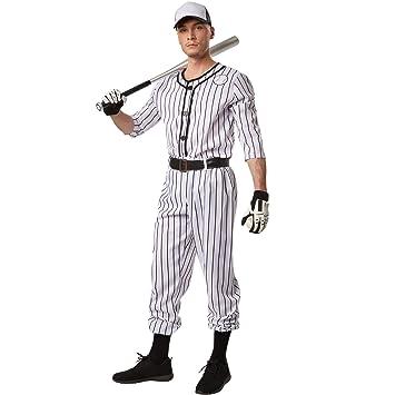 dressforfun Disfraz para hombre Béisbol | Parte superior de manga larga a rayas | Pantalones largos a rayas | Incl. cinturón y un par de calcetines ...