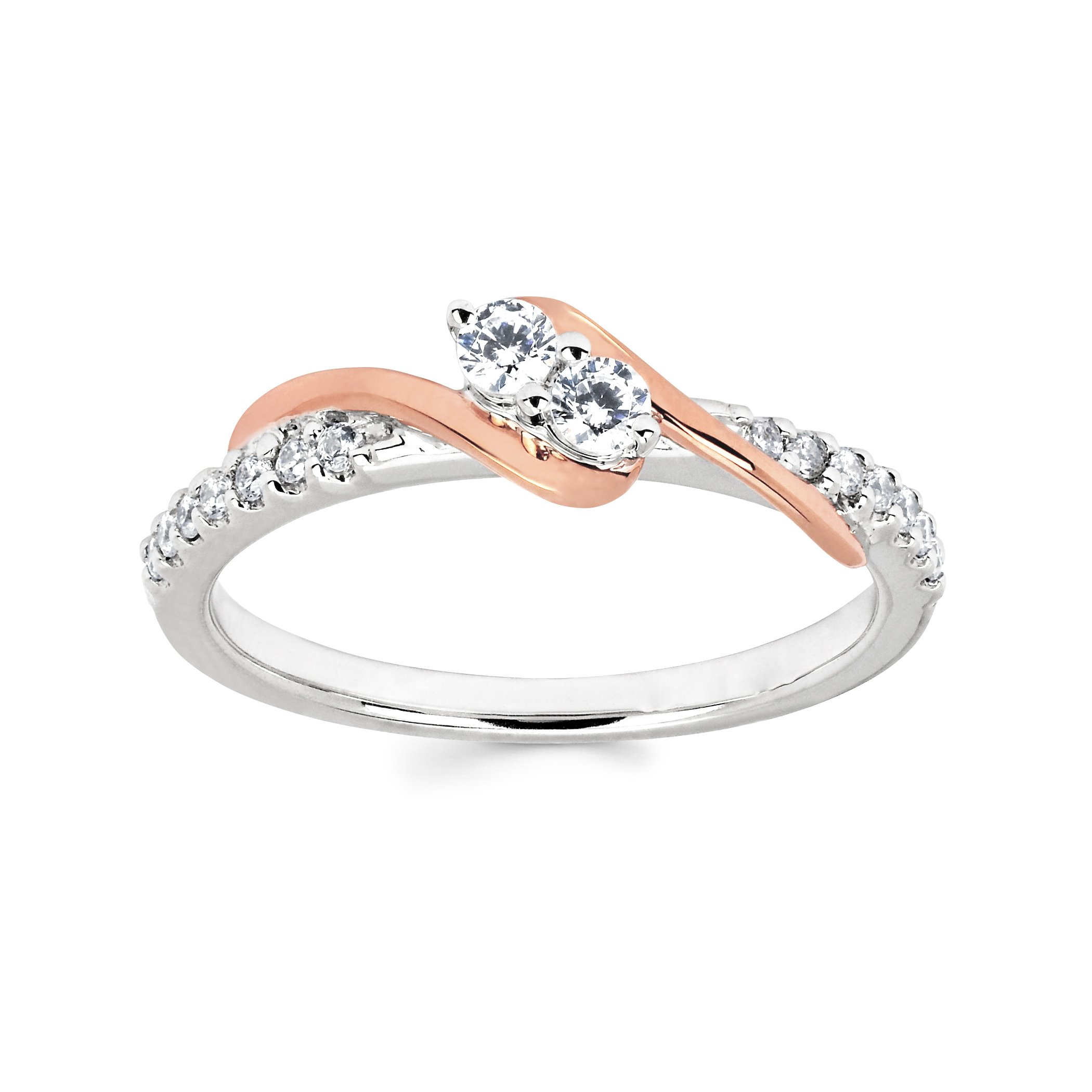 Boston Bay Diamonds 10K White and Rose Gold Diamond Two Stone Promise Ring (1/4 cttw, I Color, I1 Clarity)