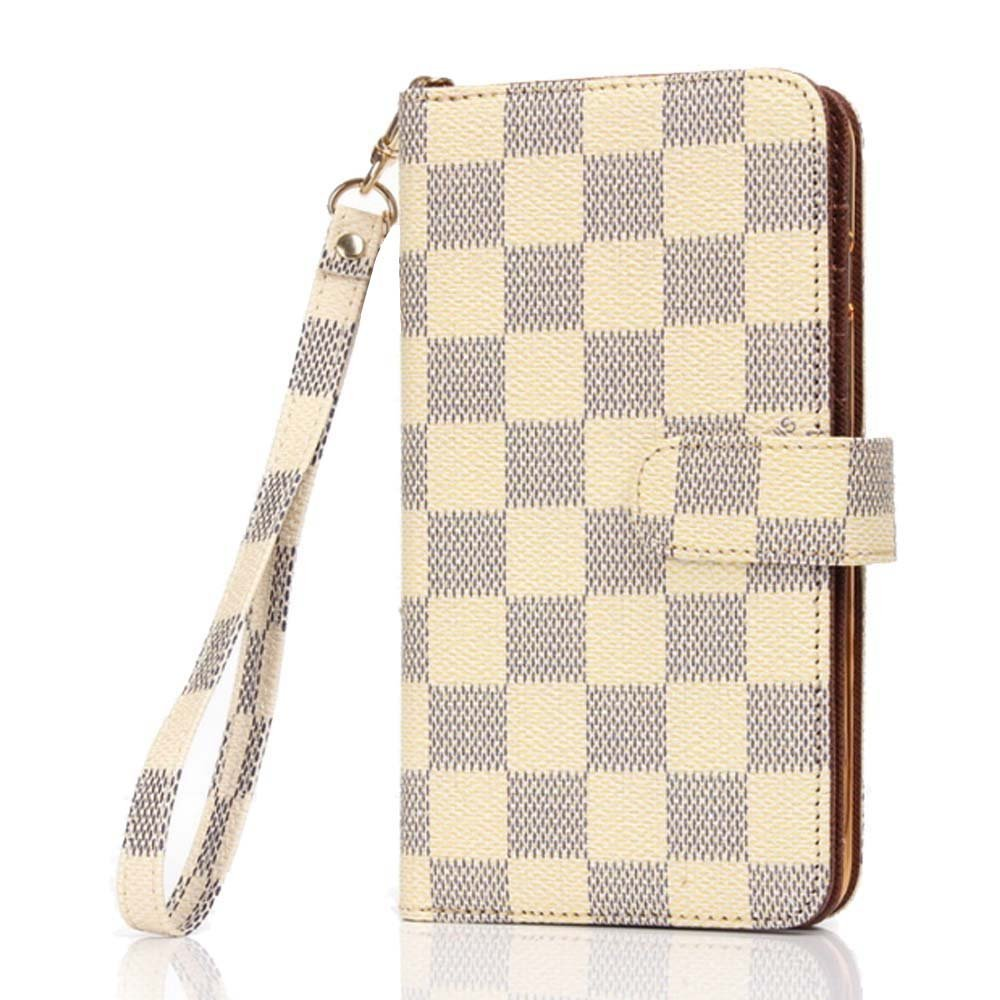 iPhone 6 Plus Case, Wallet for iPhone 6s Plus 5.5, 12-Slot Pocket, ID Card Holder, Purse Function, Hand Strap, Beige Checker Print, Premium Quality, High Grade, Classic Design, Classy Style by RT-TECH
