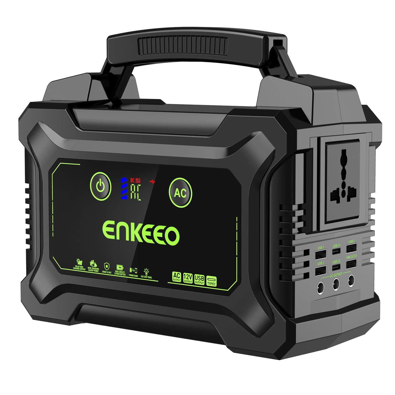 ENKEEO - 220Wh Generador Solar Portátil, 10 Puertos Output(USB/QC3.0/AC/DC), Flashlight SOS, Pantalla LED, Suministro Electricidad Banco de Energía para Viajes, Picnics, Acampada, Aire Libre