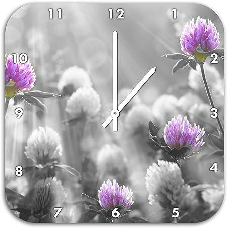 Magnifique trèfle Noir/Blanc, Horloge Murale avec Aiguilles ...
