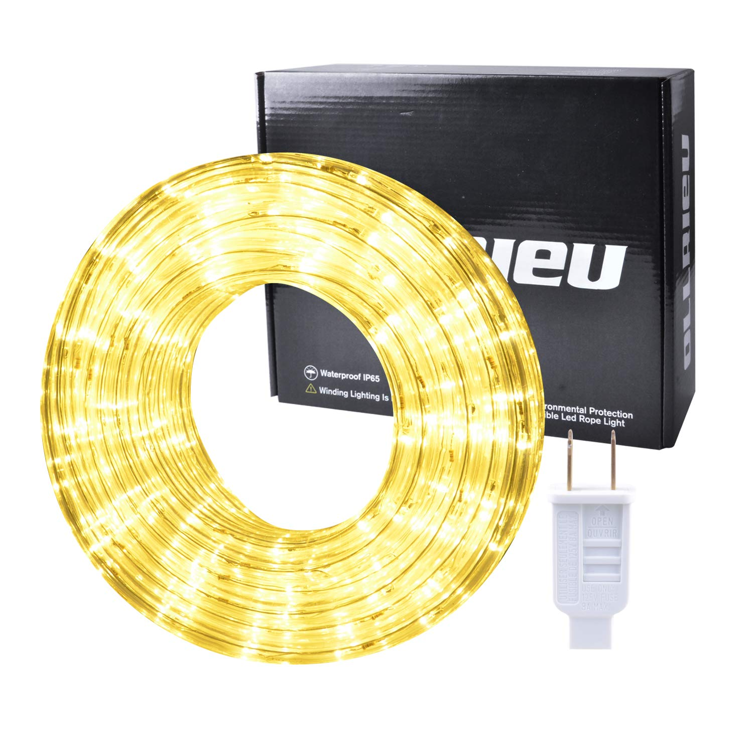 ollrieu Rope Lights Warm Outdoor 50ft Waterproof LED Rope Lighting Kit Flexible Connectable 3000K 110V UL Listed Power Plug-in Indoor Strip Light