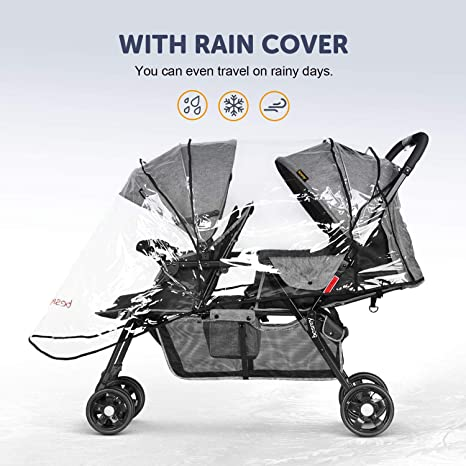 Amazon.com: besrey doble carriola de bebé Tandem Stroller 0 ...