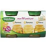 Blédina Fruits en Pots mon 1er Petit Pot de 2 Pommes/1 Bananes/1 Poires dès 4/6 Mois 4 x 130g - lot de 6