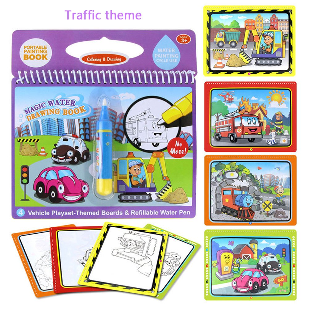Traffic theme Kids magic Water Activity Book paint Coloring Book ...