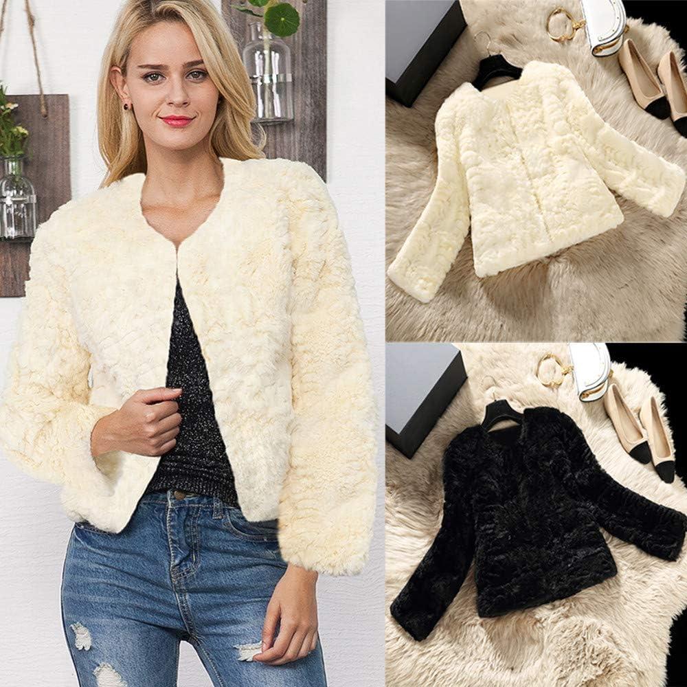 JOFOW Womens Fleece Jacket Solid Autumn Winter Cropped Short Long Sleeve Cardigans Warm Fuzzy Slim Faux Fur Coat
