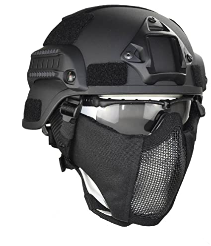 Jadedragon MICH 2000 Style ACH Tactical Helmet with Protect Ear Foldable  Double Straps Half Face Mesh 5a88d6ecf6