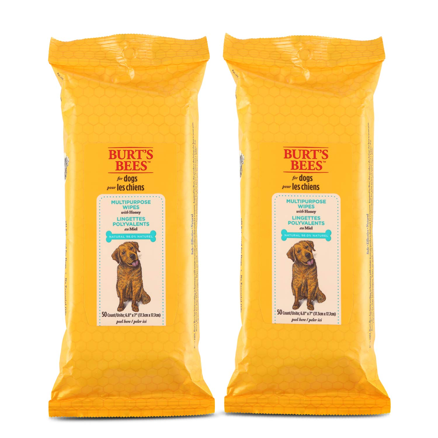Burt's Bees For Dogs Multipurpose Grooming Wipes | Puppy and Dog Wipes For Cleaning, 50 Count - 2 Pack