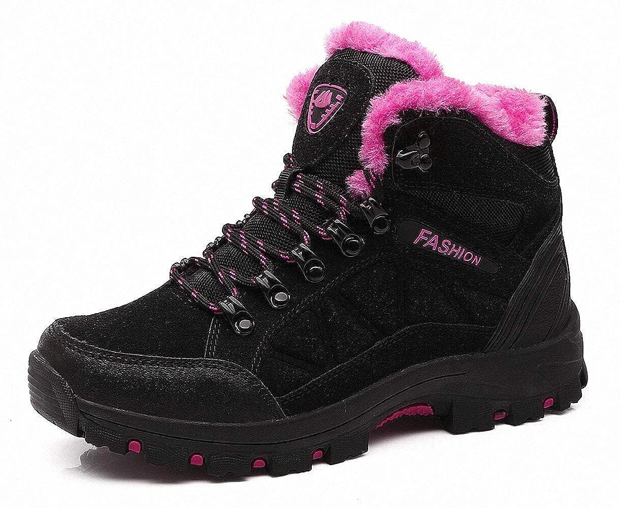 Blackpink 7 B(M) US = 9 1 4  (heel to toe) ZHENZHONG Women's Warm Faux Fur Hiking Trekking Boots Walking Outdoor Boots