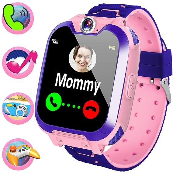 Reloj inteligente para niños y niñas – Reloj inteligente de juego para niños con dos modos de llamada SOS juegos cámara música Player, niños reloj de ...