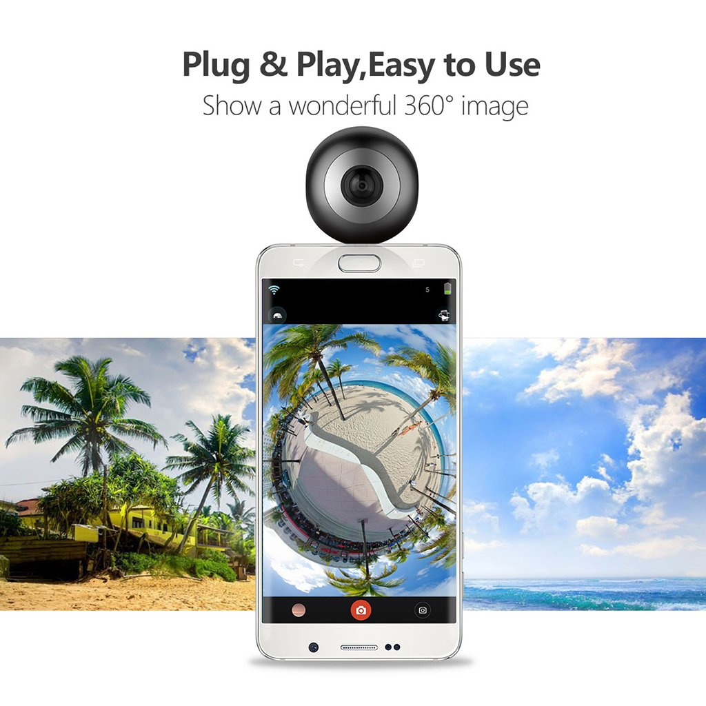Dovewill Dual 210° Fisheye Lens HD VR Camera for Android Phone Live Seamless Stitching Blank by Dovewill (Image #6)