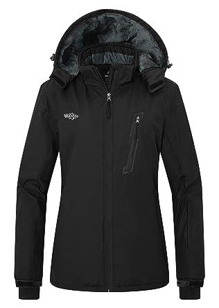 a5857f25c Wantdo Women's Waterproof Warm Snow Jacket Hooded Cotton Padded Winter  Outwear Raincoat Windbreaker for Traveling(
