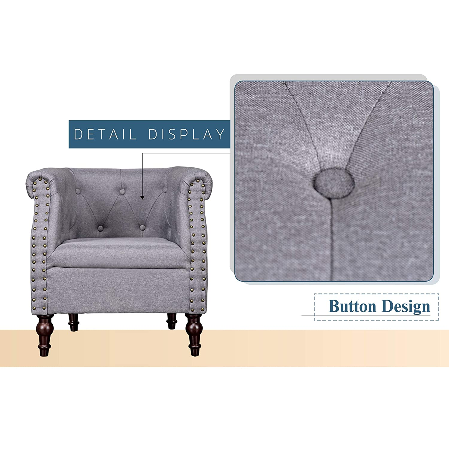 Amazon.com: ROOMANCE Accent Chair Modern Upholstered Leisure ...
