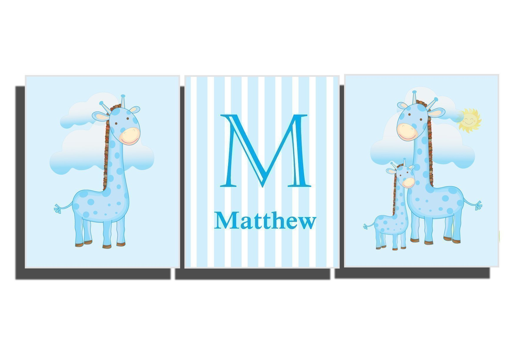 Baby Boy's Room Decor Custom Name Nursery Wall Art Décor Giraffe Decals Safari Animal Pictures Teal Blue Gray Personalized Set 3 Unframed Prints