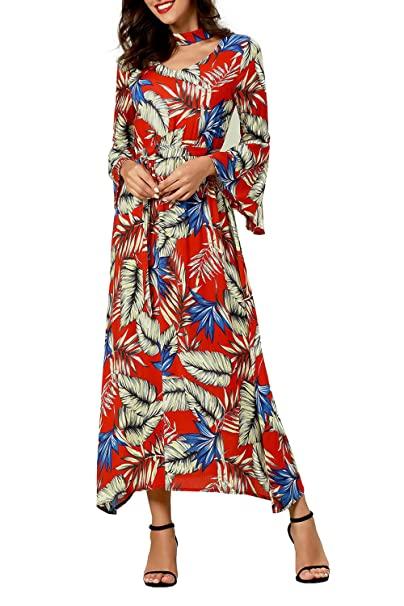 26c0c0e852f Womens Maxi Long Sleeve Floral Printing Casual Shirt Dresses Muslim Arabic Long  Dresses Abaya Islamic Clothing Kaftan: Amazon.co.uk: Clothing