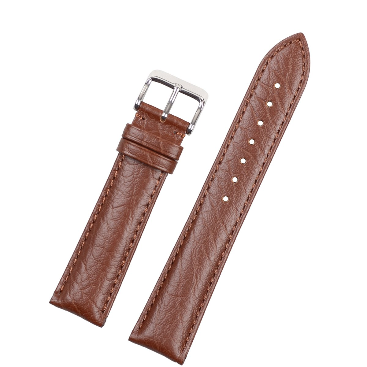 eache Classical超薄型本革バンド腕時計ストラップ異なる色 20mm Brown Brown Thread-S 20mm|Brown Brown Thread-S Brown Brown Thread-S 20mm B07D36PV5K