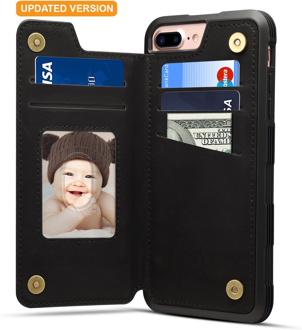 iPhone 8 Plus Card Holder Case iPhone 8 Plus Wallet Case Slim iPhone 8 Plus Folio Leather case cover Shockproof Case with Credit Card Slot Protective Case for iPhone 8 Plus and iPhone 7 Plus (Black)
