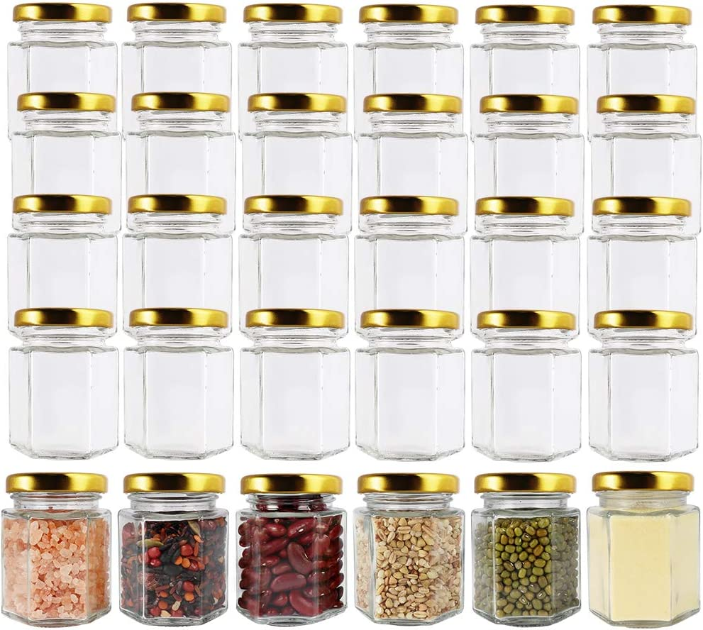 CycleMore 3oz Hexagon Glass Jars with Gold Lids, Clear Glass Canning Jars Jam Jars Bottles for Jams, Honey, Wedding Favors, Baby Foods, Gifts and Craft, DIY Spice Jars and More(Pack of 30)