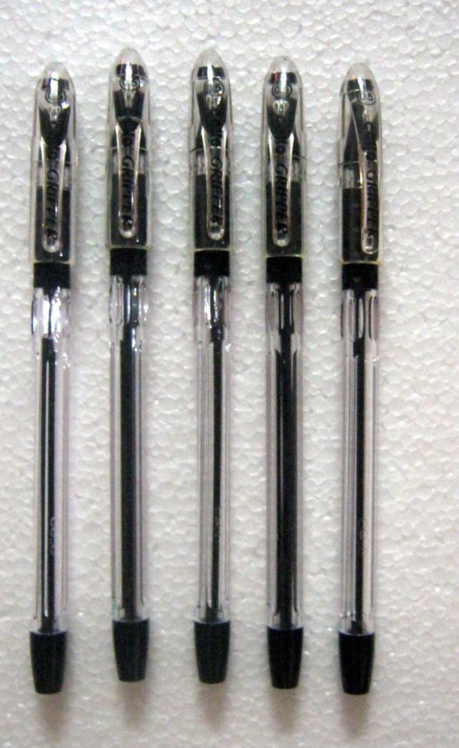 Set of 5 Cello Gripper Black Ink Ball Pen - Original Brand New - India