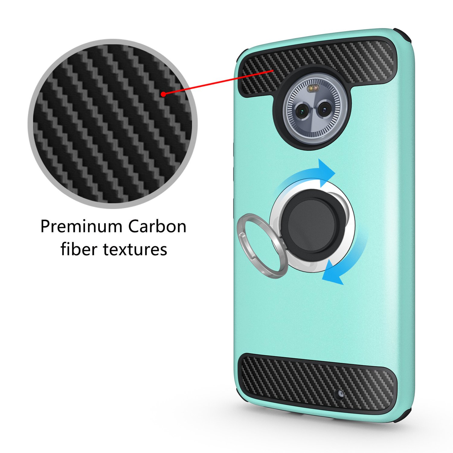 Armor Dual Layer 2 in 1 with Extreme Heavy Duty Protection and 360 Degree Finger Ring Holder Kickstand Fit Magnetic Car Mount for Moto X4-Green Newseego Ring Stand for Moto X4 Case