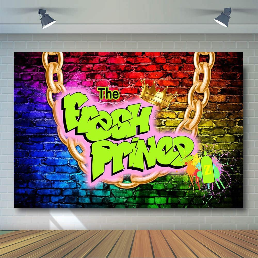 COMOPHOTO The Fresh Prince Backdrop 7x5ft Fresh Prince Birthday Background Graffiti Wall Throwback 90s Party Banner Baby Shower Photography Backdrops Photo Booth Supplies