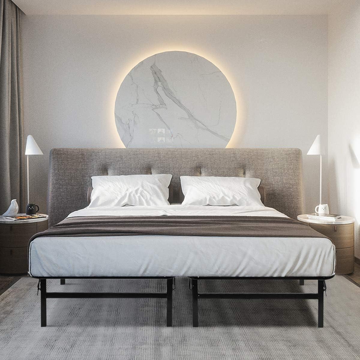Giantex Platform Metal Bed Frame Mattress Foundation 5 Box Springs Queen Size , Black