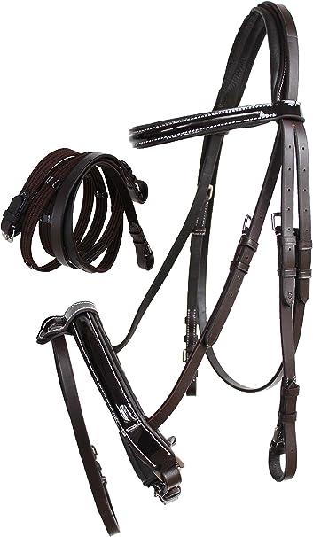 CHALLENGER Cob English Brown All-Purpose Trail Pleasure Leather Bridle Reins 805EB04BR-C