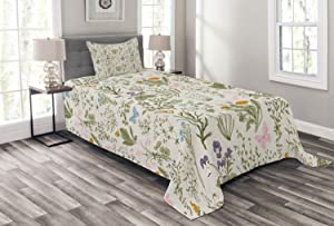Ambesonne Floral Bedspread, Vintage Garden Plants Herbs Flowers Botanical Classic Design, Decorative Quilted 2 Piece Coverlet Set with Pillow Sham, Twin Size, Pink Blue