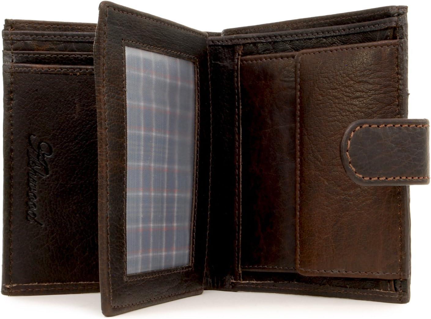 Marron Buffalo Cuir V/éritable Coffret Cadeau Homme Portefeuille//Porte Monnaie ASHWOOD Grande Capacite 1412