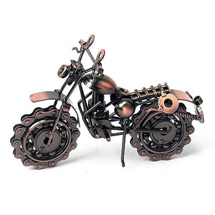 Retro Hierro motocicleta modelo con Chainwheel manillar ruedas muebles arte coleccionable escultura para los amantes de