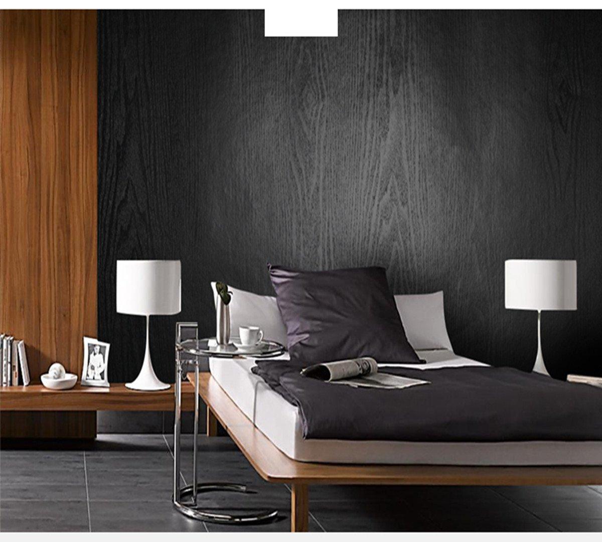 Hode Vinilo Autoadhesivo Madera Negro Mate con Textura 30 cm × 200 cm Papel Adhesivo para Muebles,Cocina,Film Adhesivo para Muebles