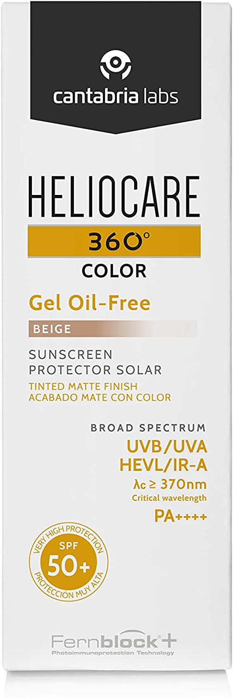 Heliocare 360º Color Gel Oil-Free SPF 50+ - Fotoprotección Avanzada con Color, Textura Ligera, Pieles Mixtas o Grasas, Acabado Mate y Tacto Seco, Beige, 50ml