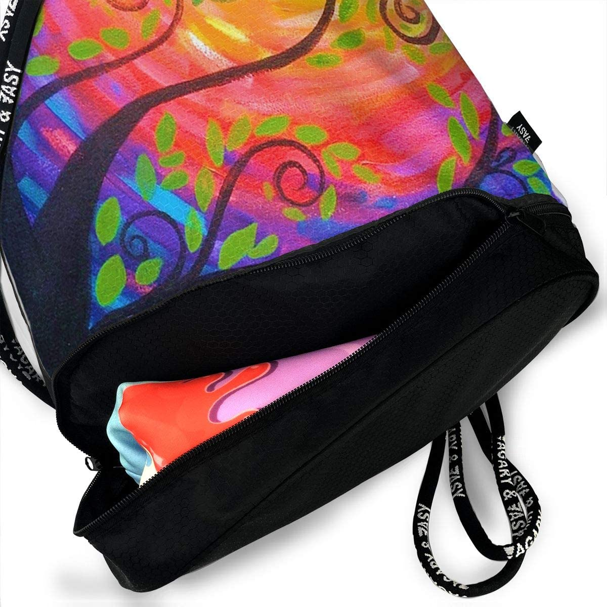 HUOPR5Q Watercolor Tree Painting Drawstring Backpack Sport Gym Sack Shoulder Bulk Bag Dance Bag for School Travel
