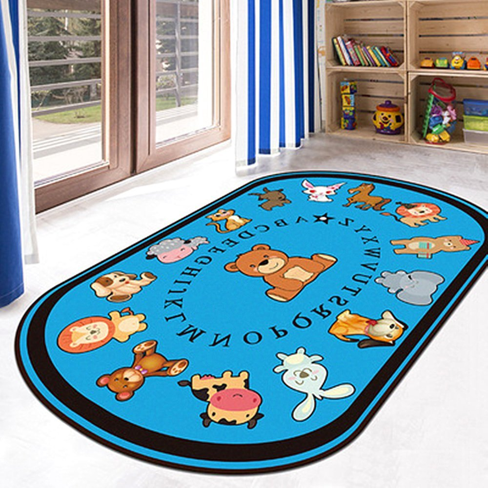 USTIDE 5'x7' ABC Alphabet Educational Kids Rug Animals Learning Rug Bright Kids Children Playroom Rug