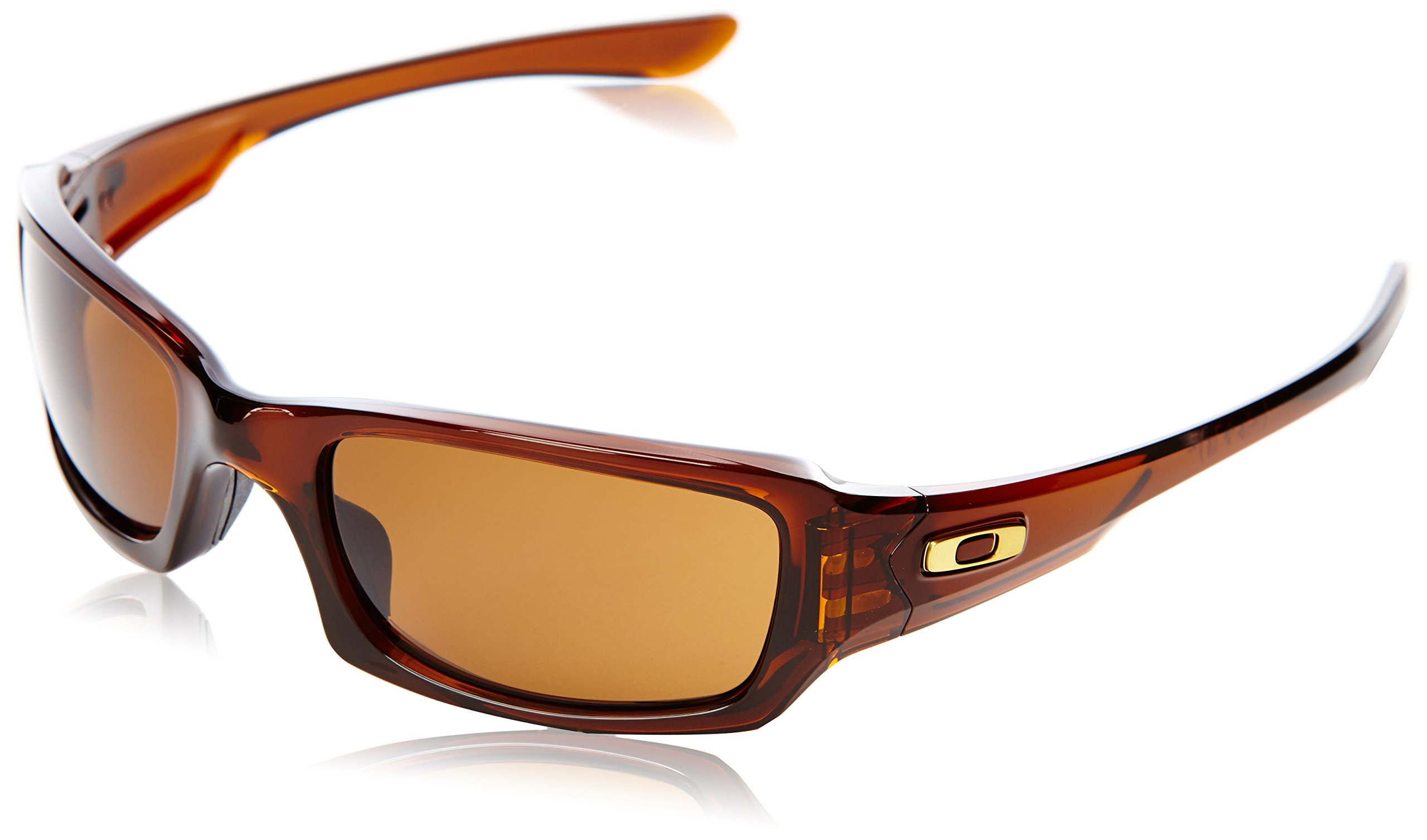 Oakley Men's Fives Squared OO9238-07 Rectangular Sunglasses, Polished Root Beer, 54 mm