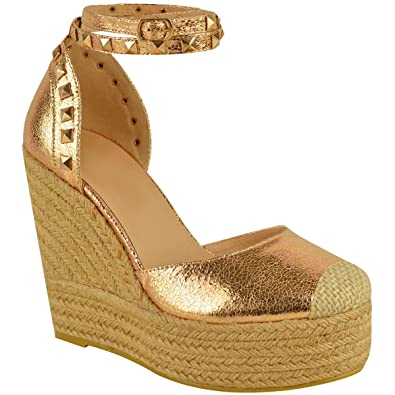 da5e294edc71 Fashion Thirsty Womens High Wedge Heel Sandals Ankle Strap Summer  Espadrilles Size 7 Rose Gold Crinkle